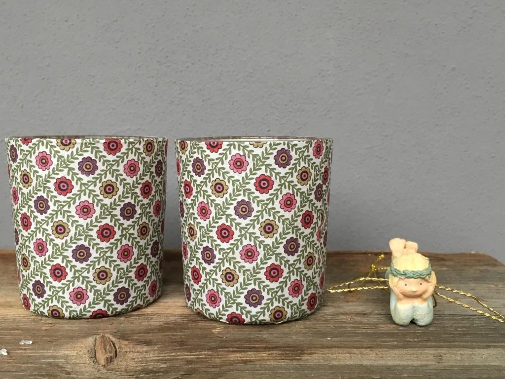 Teelichthalter Blumensmuster
